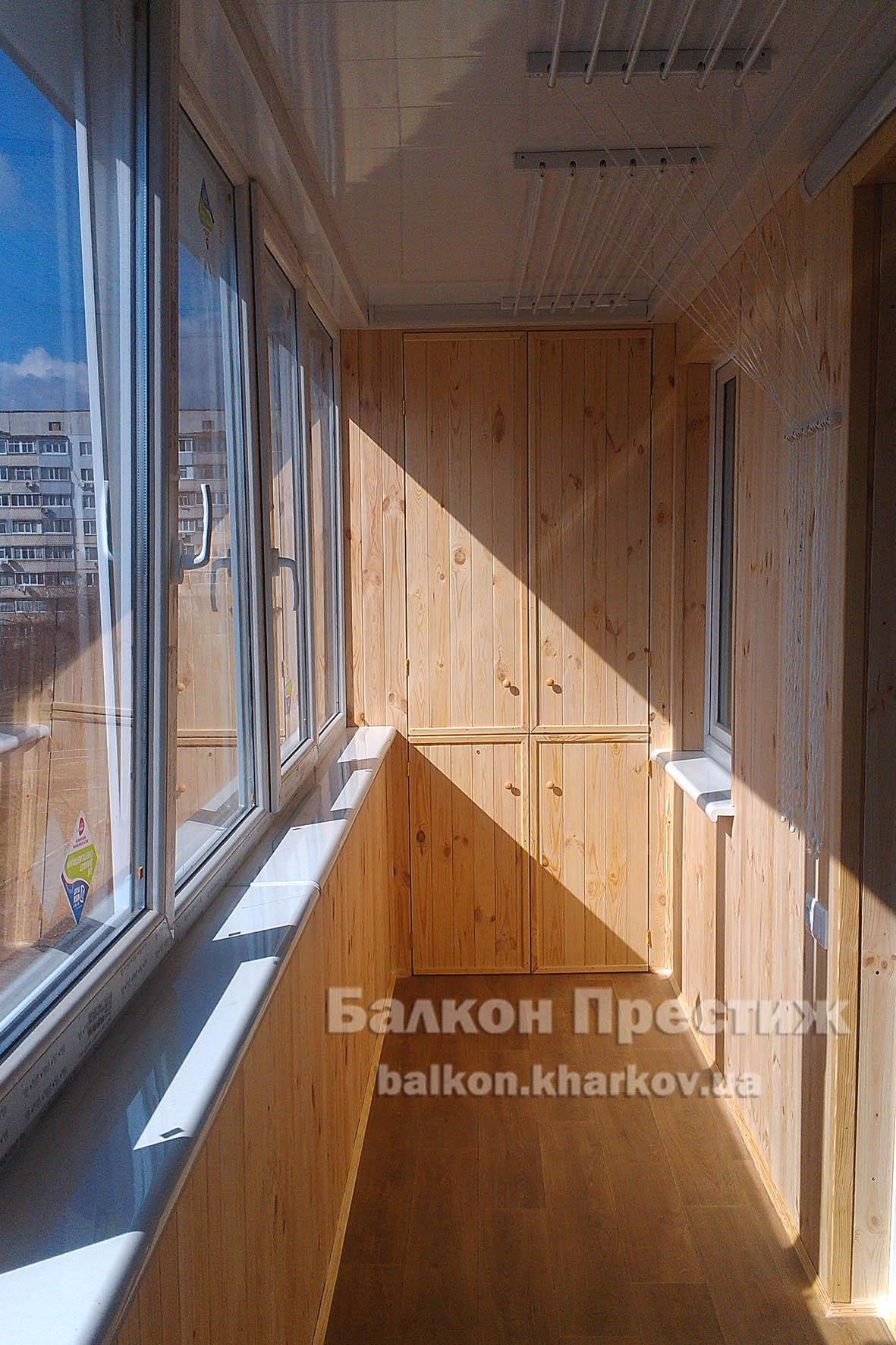 Заказать внутреннюю обшивку балкона в харькое. балкон прести.